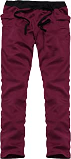 Mens Pure Color Loose Ankle-Length Pants Jogger Pants Biker Slim Fit Casual Tracksuit Running Sport Pants Sweatpants Trousers  Wine Red  XL