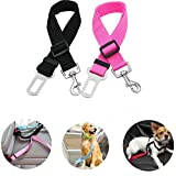 ueetek 2pcs cablaggio regolabile auto animale domestico cane gatto auto veicolo sicurezza guinzaglio cintura di sicurezza per cani animali domestici (nero + rosa)