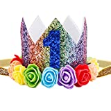 Maticr Baby Girl Glitter 1 2 3 First Birthday Rainbow Flower Crown Hat Floral Tiara Headband for Photo Prop (Blue Number 1)