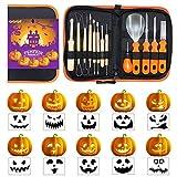 Yenny Shop - Juego de 13 piezas para tallar calabaza profesional de acero inoxidable para niños con plantillas para decoración de Halloween Jack-O-Lanterns