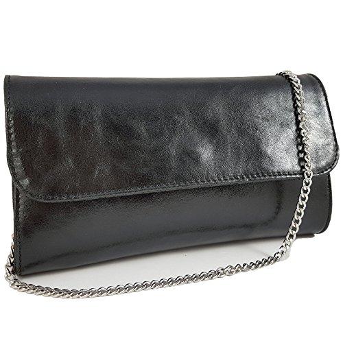 Freyday Echtleder Damen Clutch Tasche Abendtasche Muster Metallic 25x15cm C01 (Schwarz Metallic)
