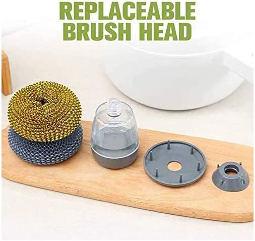 Kitchen Brushes for Dishes Dish Brush with Soap Dispenser 3 Brushes YALANK Soap Dispensing Palm Brush