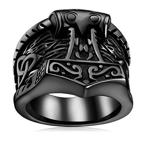 FaithHeart Norse Viking Jewelry Men, Black Thor's Hammer Rings with Celtic Knot Charms Stainless Steel Nordic Mythology Mjolnir Vikings Stuff
