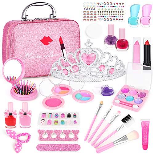 AILUKI Kinderschminke Set 27 Stück Waschbar Real Cosmetic Make Up Set für Mädchen Spiel Spielen Halloween Weihnachten Geburtstagsfeier Rollenspiel Spielzeug Geschenk