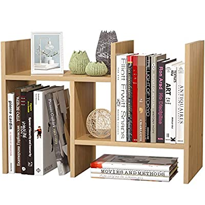 FoxEmart Wood Desktop Shelf, Adjustable Display Bookshelf for Desk