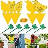 Jiashomer 56Pcs Trampa Moscas insecticida Plantas atrapa Mosquitos Amarillo de Doble Cara para Proteger Plantas y Atrapar Moscas Insectos Voladores Moscas de Hoja y alimañas