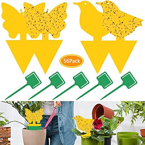 56Pcs Trampa Moscas,Trampa Insectos Amarillo de Doble Cara para Proteger Plantas y Atrapar Moscas, Insectos Voladores,moscas de hoja y alimañas,ideal para plantas en el balcón o en el jardín
