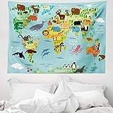 ABAKUHAUS Fernweh Wandteppich Tier Karte der Weltaus Weiches Mikrofaser Stoff 150 x 110 cm Waschbar mit Klaren Farben Hellblau gelb-grün