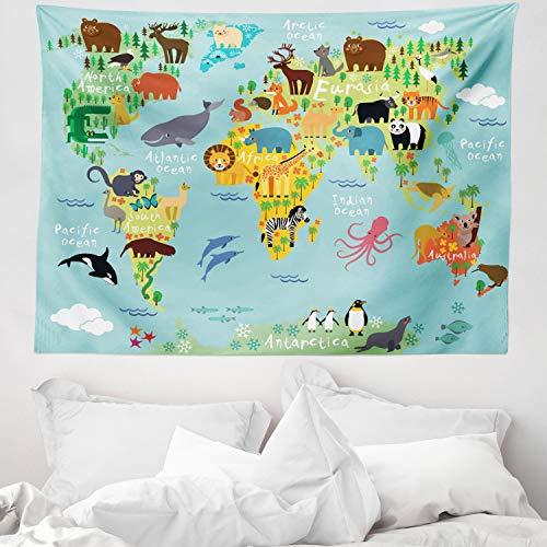 ABAKUHAUS Viajeros Tapiz de Pared y Cubrecama Suave, Animal Mapa del Mundo para Niños Dibujos Infantil Montaña Bosque, Material Resistente, 150 x 110 cm, Verde Amarillento