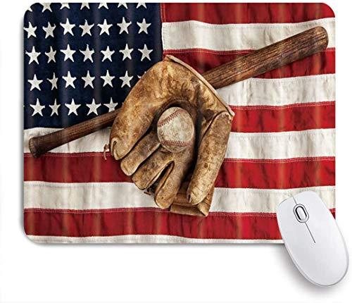 MUYIXUAN Alfombrilla Raton Guante de Bate de béisbol en una Bandera Americana Vintage Alfombrilla Gaming Alfombrilla para computadora con Base de Goma Antideslizante,240×200×3mm