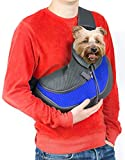 Cuddlissimo! Pet Sling Carrier - Small Dog Puppy Cat Carrying Bag Purse Pouch - For Pooch Doggy Doggie Yorkie Chihuahua Baby Papoose Bjorn - Travel Front Backpack Chest Body Holder Pack To Wear (Blue)