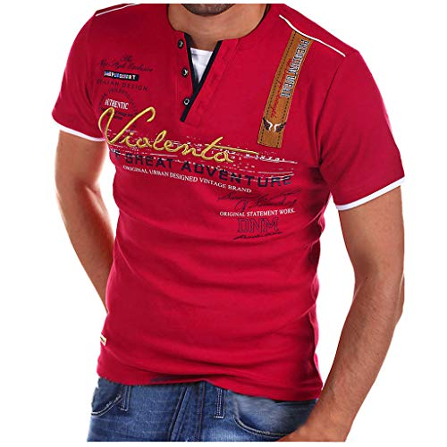 Polo Shirt for Men, F_Gotal Men's T-Shirts Fashion Summer Lapel Short Sleeve Letter Printed Slim Fit Tees Blouse Tops