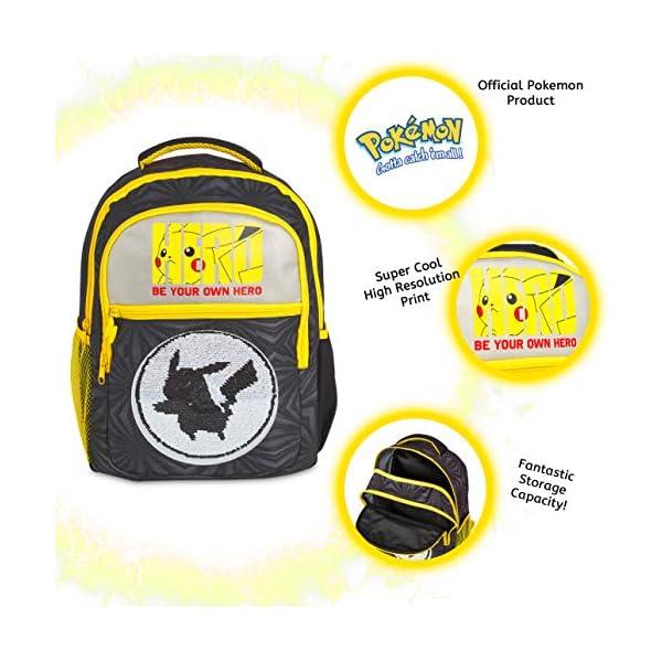 51Jp3ciJb9L. SS600  - Pokemon Mochilas Escolares, Mochila Infantil con Diseño Lentejuelas Reversibles, Mochilas Escolares Juveniles con…