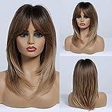 HAIRCUBE Long Layered Perücken für Frauen Synthetische Haarperücke mit Pony Ombre Farbe Brown bis Blond mit Dunklen Wurzeln
