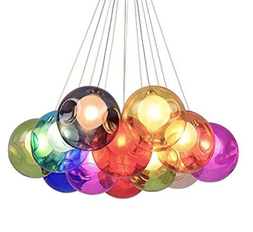 Kronleuchter Pendel Leuchter Hängeleuchte Pendelleuchte Farbige Bubble Ball Lampe Glas Esszimmerlampe Für Mehrflammige Leuchten Buntglas Esszimmer Licht Höhenverstellbare 100CM (Color : 12 Head)