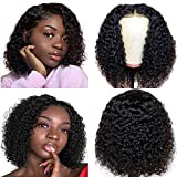 Short Bob Wig 4x4 Lace Closure Wig Brazilian Curly Wave Lace Front Wig Human Hair Curly Bob Wig Echthaarperücken für schwarze Frauen 150% Density Pre Plucked with Bady Hair Natural Color14'(35.6cm)