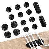 jeopoom organizer per la gestione dei cavi[16 pezzi], organizer a clip per cavo, multifunzione mini fermacavi clip portacavi adesivo gestione dei cavi sulla scrivania clip cavo per tv laptop ufficio