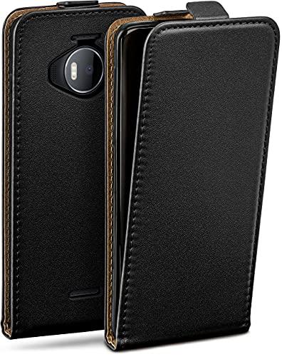 moex Flip Hülle für Microsoft Lumia 950 XL Hülle klappbar, 360 Grad R&um Komplett-Schutz, Klapphülle aus Vegan Leder, Handytasche mit vertikaler Klappe, magnetisch - Schwarz