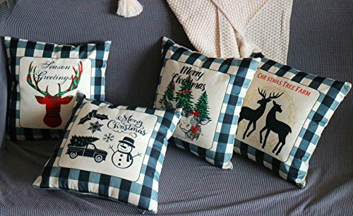 QiRung Christmas Cushion Covers set of 4, Cotton Linen Decorative Throw Pillow Covers Pillow Cases for Sofa 45x45cm-