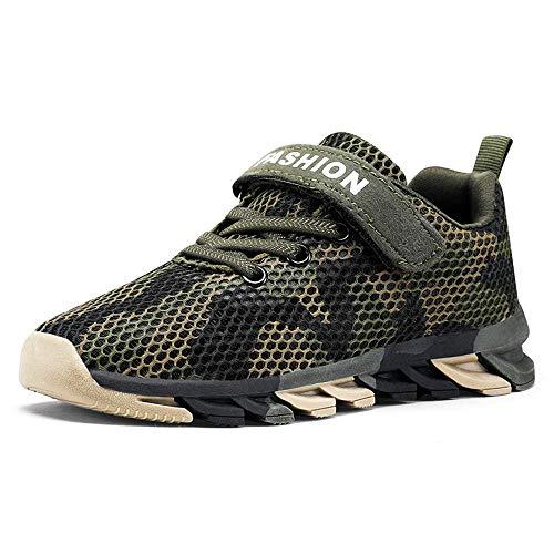 ARYYX Gemütlich Kinder Sneaker Camouflage Atmungsaktive Turnschuhe Strick Mesh Jungen Mädchen Straßenlaufschuhe Casual Kinder Schuhe,Zx208-grün,39 EU