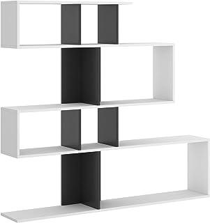 HABITMOBEL Librería estantería Zig Zag, Comedor, Salon o despacho, Medidas: 130 x 139 x 5 cm de Fondo (Blanco y Grafito)