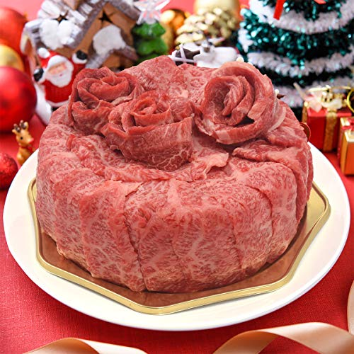 クリスマス ケーキ 神戸牛 肉ケーキ A5 ロース モモ 計600g 焼肉 しゃぶしゃぶ スライス 国産 和牛 ~ ろうそく バラン 造花 ケーキボックス 入り~ 12月23日~24日 冷凍お届け