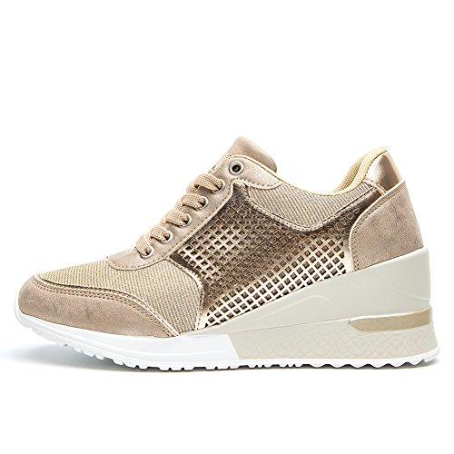 Zapatillas Deportivas Plataforma Cuña para Mujer - ANJOUFEMME Zapatos Wedge Sneakers Mujer, Apto para Todas Las Estaciones SM1-GOLD-41