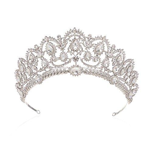 SWEETV Reale Cristallo Principessa Tiara Matrimonio Corona Della Sposa Capelli Accessori con Gemme, Trasparente