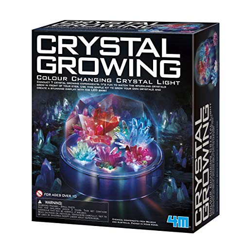 4M Crystal Growing Color Changing LED Light Kids Science Kit - Easy DIY STEM Toys Lab Experiment Specimens, A Great Educational Gift for Kids & Teens, Boys & Girls