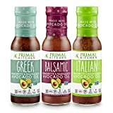 Primal Kitchen Avocado Oil 3 Pack Vinaigrette Dressing & Marinade (Greek, Balsamic, Italian, 3 Count)