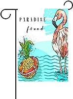 フラッグ 海の救命ボートの手描きの夏のアートパイナップルとピンクのフラミンゴパラダイスガーデンフラッグバナー屋外ホームガーデン植木鉢の装飾のための 30 x 45cm