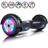 Huanhui Hoverboard, Bluetooth Overboard Électrique, Auto-Équilibrage Tout Terrain Board avec Pneu à LED Gyropode pour Enfants et Adultes