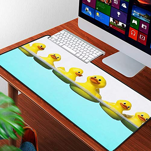 Large Gaming Mouse Pad Desktop Pad Laptop pad for Office and Home,Washed Duvet Cover Set Animal Cute Yellow Duck Swimming in The Tiffany Blue Water Ultra,Non-Slip Base, for Work & Gaming