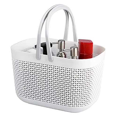 Badezimmer Korb mit Griff - Organizer mit Griffen/Kunststoff Aufbewahrungskörbe Tapelbare Regalkörbe für Bad und Küche - Weiß