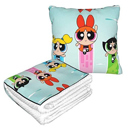 Manta suave 2 en 1 de Power-Puff para niñas 36 de forro polar manta para sala de estar, sofá, oficina, para hombres y niños
