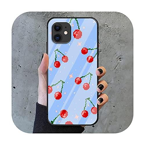 Cherry Phone Cubierta de la caja de vidrio templado para iPhone 6 6S 7 8 11 12 X Xr Xs Se 2020 Pro Max Plus Mini silicona pintura de lujo Etui-11-7Plus o 8Plus