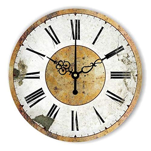FOOSKOO Wall Clocks Horloge Murale Style rétro Vintage Vintage muet Grande Horloge Murale Montre Shabby Chic Home Decor Salon 16 Pouces / 40 cm (Conception : H)