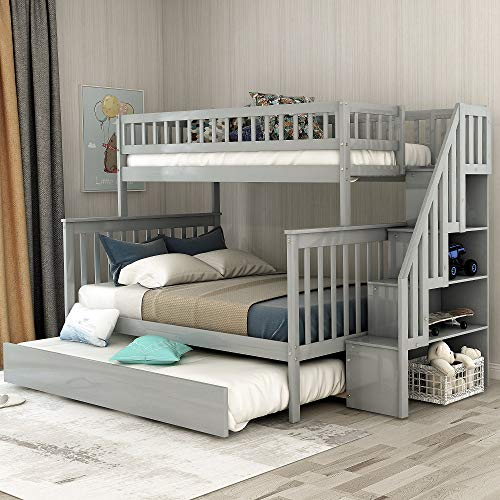 Solid Wood Twin Over Full Bunk Beds with Storage Drawers, Kids Bunk Beds with Twin Trundle Bed (Gray Twin Over Full Bunk Beds)