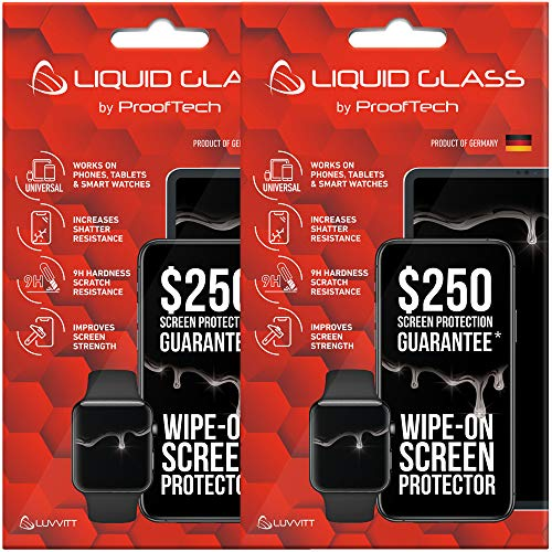 2 Pack Liquid Glass Screen Protector with $250 Screen Protection (Each) for All Smartphones Tablets and Watches - Universal Fit