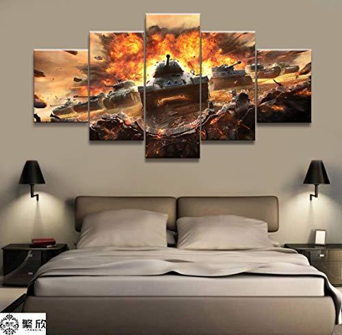 zysymx 5 Stück Militärkrieg World of Warships Tank World Malerei Spiel Poster Dekorative Wandbild Wanddekor Leinwand Malerei Gaming Leinwand