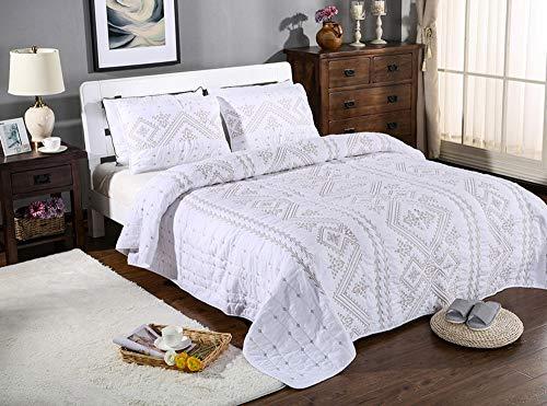 TILO White Embroidery Cotton Quilt Set 3 Piece Coverlet Florentine Bedspread Bedding Comforter Set Queen Size
