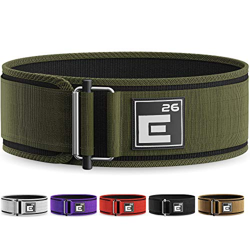 Element 26 Self-Locking Weight Lifting Belt | Premium Weightlifting Belt for Serious Functional Fitness, Weight Lifting, and Olympic Lifting Athletes| Lifting Belt for Men and Women (Large, Green)