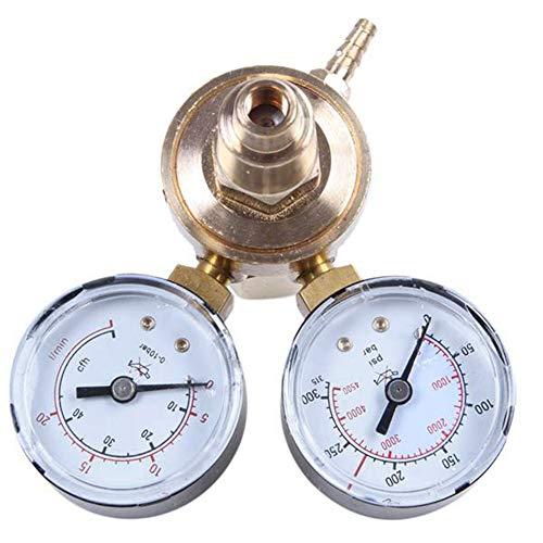 GEEKEN Medidores de CO2 de ArgóN de Doble Calibre, Reductor de PresióN, Medidor de Flujo Mig, VáLvula de Control de Gas, Regulador de Soldadura, Regulador de ArgóN, Reductor