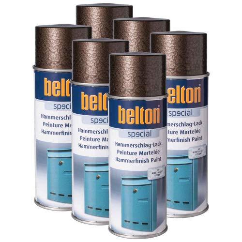 6 x Belton Hammerschlag-Lack anthrazit 0,4l (Lackspray)