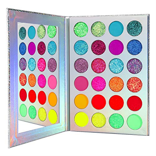 Bunt Neon Lidschatten Palette Glitzer,Afflano UV Grow Blacklight Makeup Eyeshadow Palettes Matte...