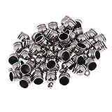 chiwanji 50 Pedazos de Los Encantos de Los Extremos de Los Talones del Tapón del Cordón de 8 Mm de Cuero Craft Collar Pulsera - Gris Negro, 10x14mm