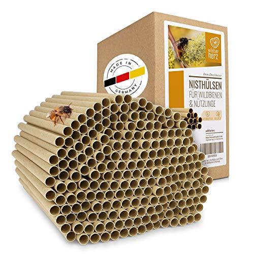 wildtier herz 200 Nisthülsen für Wildbienen 8mm I Ökologische Niströhren für Wildbienen aus Pappe I Insektenhotel Füllmaterial, Wildbienen Nisthilfe