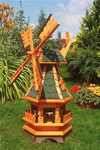 Deko-Shop-Hannusch Moulin à vent décoratif avec roulement à billes et éclairage solaire Bardeaux bitumés verts 1,0 m