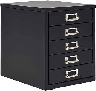 Classeur métallique noir, armoire avec 5 tiroirs pour bureau 28 x 35 x 35 cm