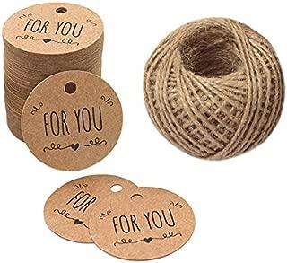 5CM* 5CM Etiketten Tags,HAND MADE for You kraftpapier Anh/änger mit 30M Jute-Schnur Braun Valentinstag 100 St/ück Geschenkanh/änger Etiketten